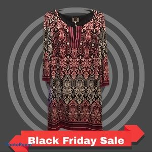 Laundry by Design Red Black Pattern Shift Dress 10